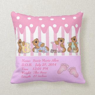 New Baby Girl Bears Throw Pillow
