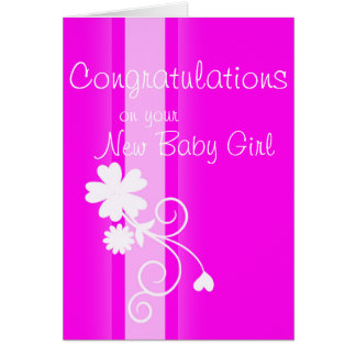 New baby girl congratulations bright pink floral greeting card
