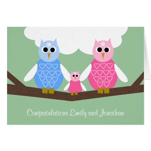 New Baby Girl Congratulations Card with Owl Family
