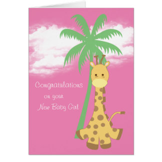 New baby girl congratulations pink giraffe card