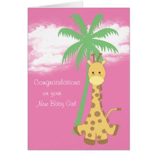New baby girl congratulations pink giraffe greeting card