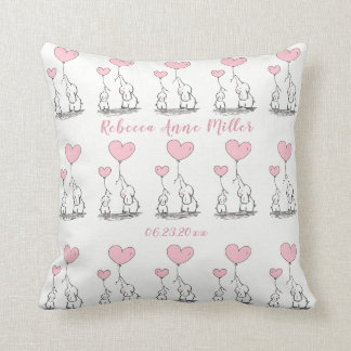 New Baby Girl Hearts And  Elephants Keepsake Throw Pillow