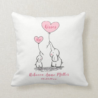 New Baby Girl Hugs And Kisses Elephant Throw Pillow
