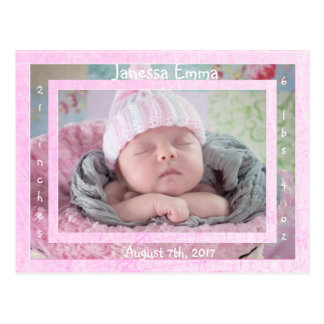 New Baby Girl Newborn Photo Birth Announcements Postcard