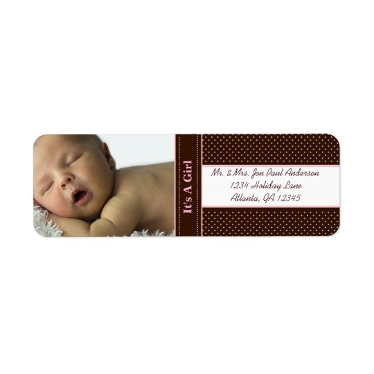 New Baby It's A  Girl Brown & Pink Dots Return Address Label