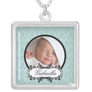 New Baby Necklace Photo Black Blue Damask Pendant