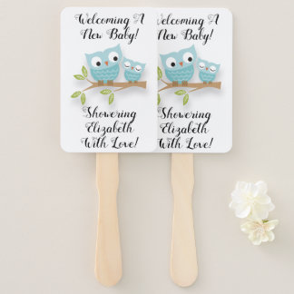 New Baby New Mom Baby Shower Cute Owls Hand Fan
