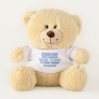 New Baby Personalized Birth Information (blue) Teddy Bear
