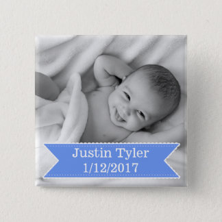 New Baby Photo and Name Blue Boy Button