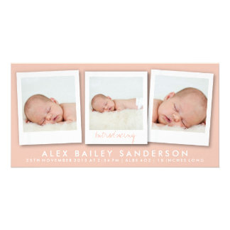 New Baby Photo Card | Multiple Photos | Apricot