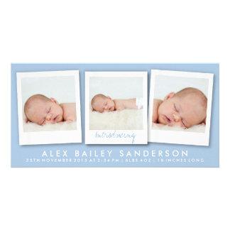 New Baby Photo Card   Multiple Photos   Blue