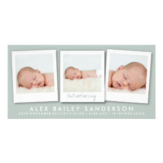 New Baby Photo Card | Multiple Photos | Green