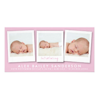 New Baby Photo Card   Multiple Photos   Pink