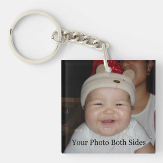 New Baby Photo Double-Sided Square Acrylic Keychain