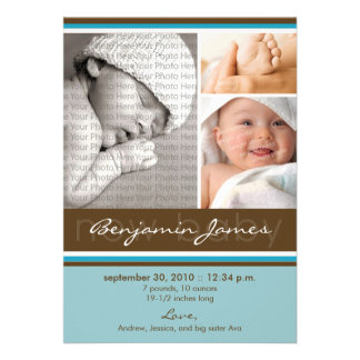 New Baby Photo Trio Birth Announcement blue