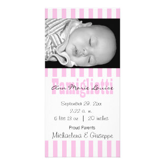 New Baby Pink And White Striped Photo Card