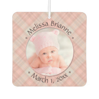 New Baby Pink Plaid Personalized Dated Car Air Freshener