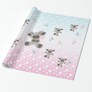 New Baby Plush Lambs Wrapping Paper