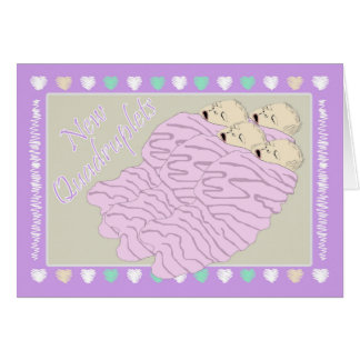 New Baby Quadruplets Four Girls Card