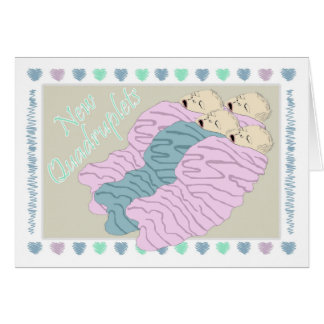 New Baby Quadruplets One Boy and Three Girls Card