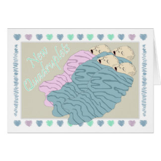 New Baby Quadruplets Three Boys and One Girl Card