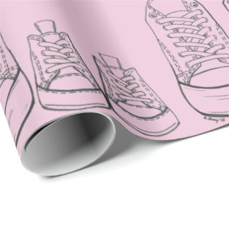 New Baby Shower Girl Pink Sneakers Shoes Gift Wrap