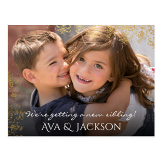 New Baby Sibling Announcement Custom Photo & Text Postcard