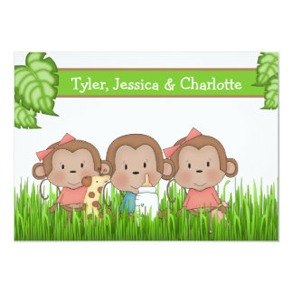 New Baby Triplets Two Girls And Boy Cute Monkey Card