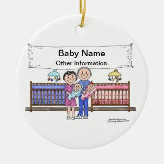 New Baby, Twins - Girl & Boy Ceramic Ornament
