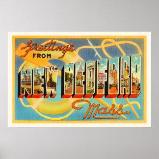New Bedford Massachusetts MA Old Travel Souvenir Poster