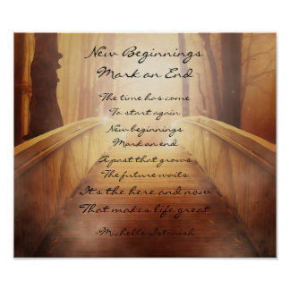 New Beginnings Mark an End ~ Fantasy Forest Poem Poster