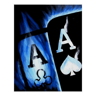 NEW BIGGER BLUE FLAMING POCKET ACES POKER ART POSTER
