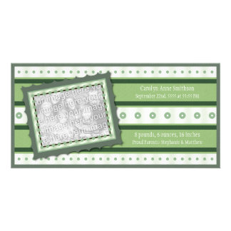 New Birth Baby Announcement Green Photo Card