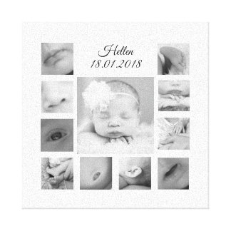 New Born Black & White Collage Canvas 12x12 inch