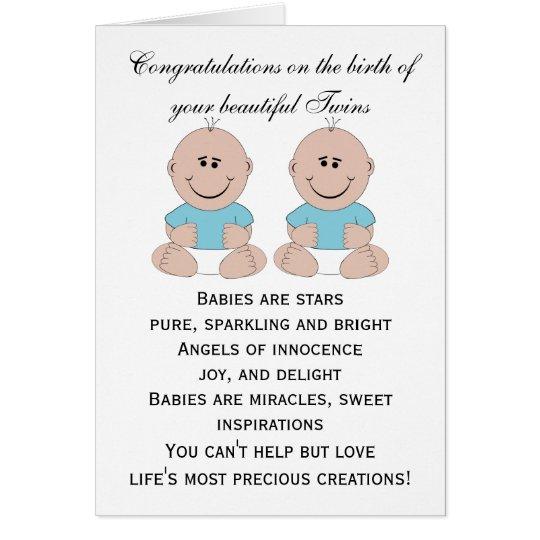New Born Twin Boys Custom Card
