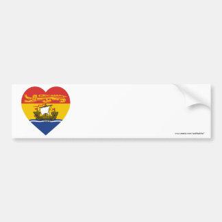 New Brunswick Flag Heart Car Bumper Sticker