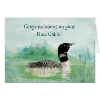 New Cabin Congrats Watercolor Loon Bird Nature Card