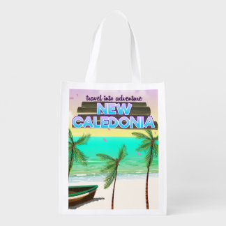 "New Caledon ""travel into adventure"" travel poster. Reusable Grocery Bag"