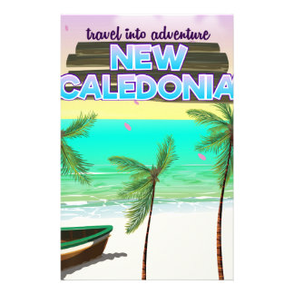 """New Caledon """"travel into adventure"""" travel poster. Stationery Design"""
