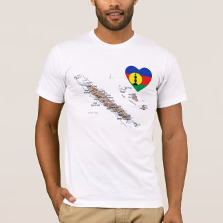 New Caledonia Flag Heart and Map T-Shirt