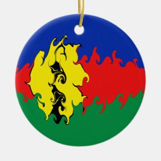 New Caledonia Gnarly Flag Round Ceramic Ornament