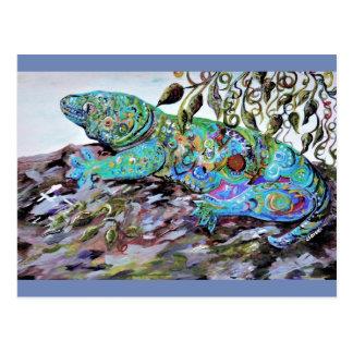 New Caledonia Lizard Art Deco Style Postcard