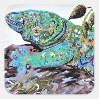 New Caledonia Lizard Art Deco Style Square Sticker