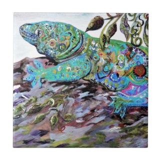 New Caledonia Lizard Art Deco Style Tile