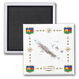 New Caledonia Map + Flags Magnet