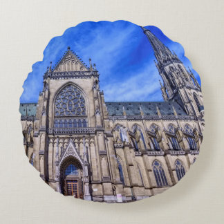 New Cathedral, Linz, Austria Round Pillow