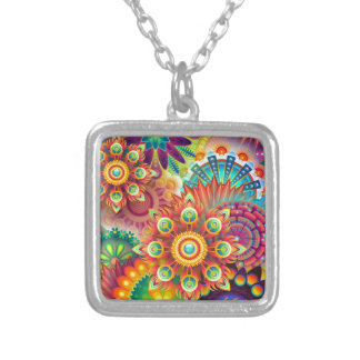 New Colorful Abstract BackGround Silver Plated Necklace