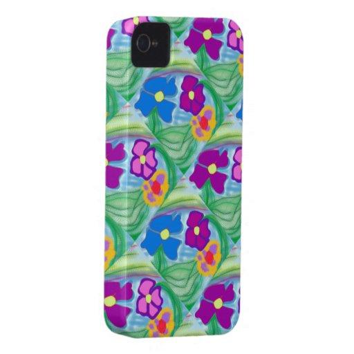 New Cute Blackberry Case Pink & Blue Flowers