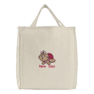 New Dad -  girl Embroidered Tote Bag