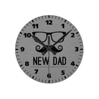 New Dad Mustache Nerd Glass Hipster Wall Clocks
